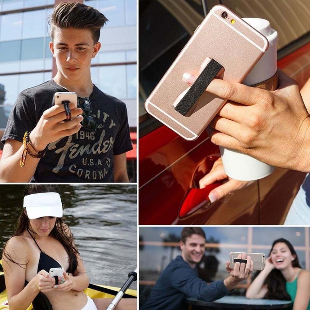 Universal Finger Grip Selfie Strap Sling Stand Holder For Cell