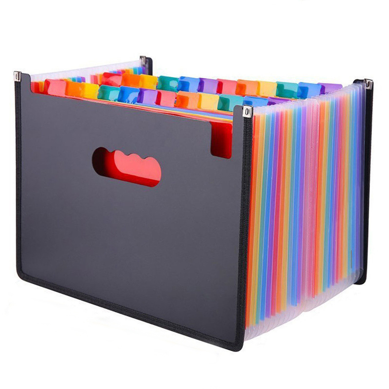 Coloful 24 Pockets Expanding File Folder A4 Organizer Portable Business File Office Supplies Document Holder Carpeta Archivador
