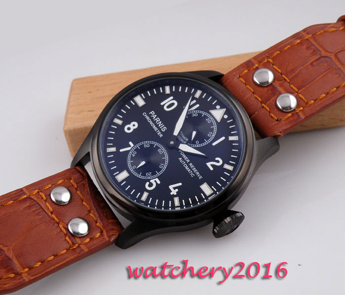 47mm parnis Black dial Rivets Leather Strap Calendar Chronograph power reserve PVD Case ST 2542 Automatic mechanical Mens Watch 47mm parnis power reserve coffee dial brushed case yellow numbers automatic men s leather watch