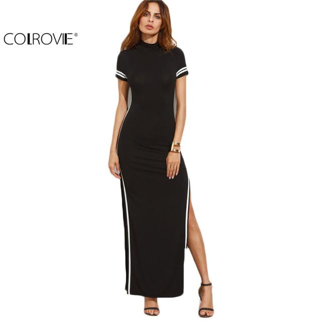 COLROVIE Mujeres Sexy Wear Otoño Estilo Bodycon Vestidos Negro Corte fuera Ajuste Rayado Manga Corta de Cuello Alto de Split Vaina Maxi dress