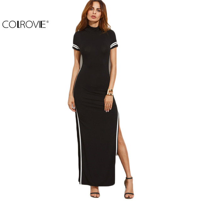 Colrovie Women Sexy Wear Autumn Style Bodycon Dresses Black Cut Out