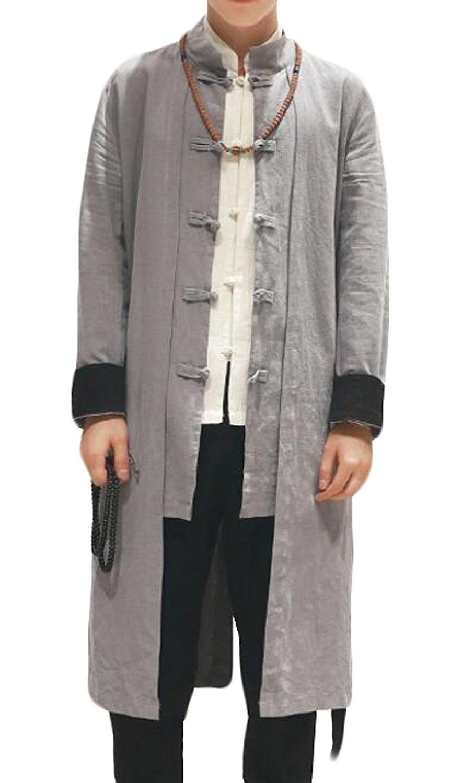 WANSHIYISHE Uomo Vintage Kung Fu Lungo di Lino Cardigan