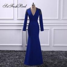 Vestido De Festa V Шея с аппликациями с длинными рукавами Русалка Длинные Формальные Элегантные синие вечерние платья для женщин