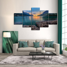 5 Panels Modern Blue BLack HD Picture On Canvas Wall Art