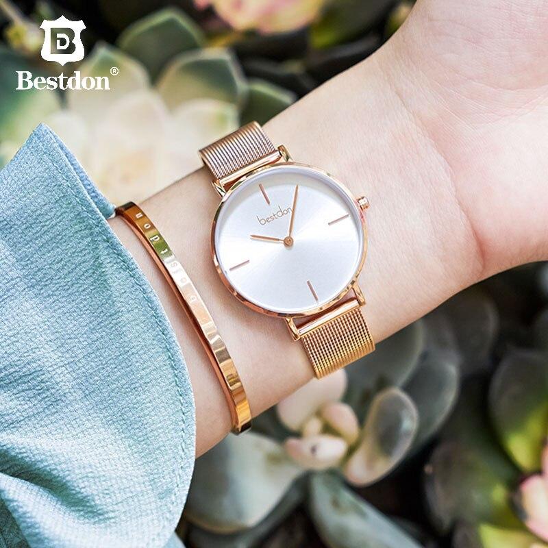 Bestdon montres pour femmes marque de luxe mode dames montre étanche femme Quartz montre-bracelet petites dames en or Rose horloge 2019