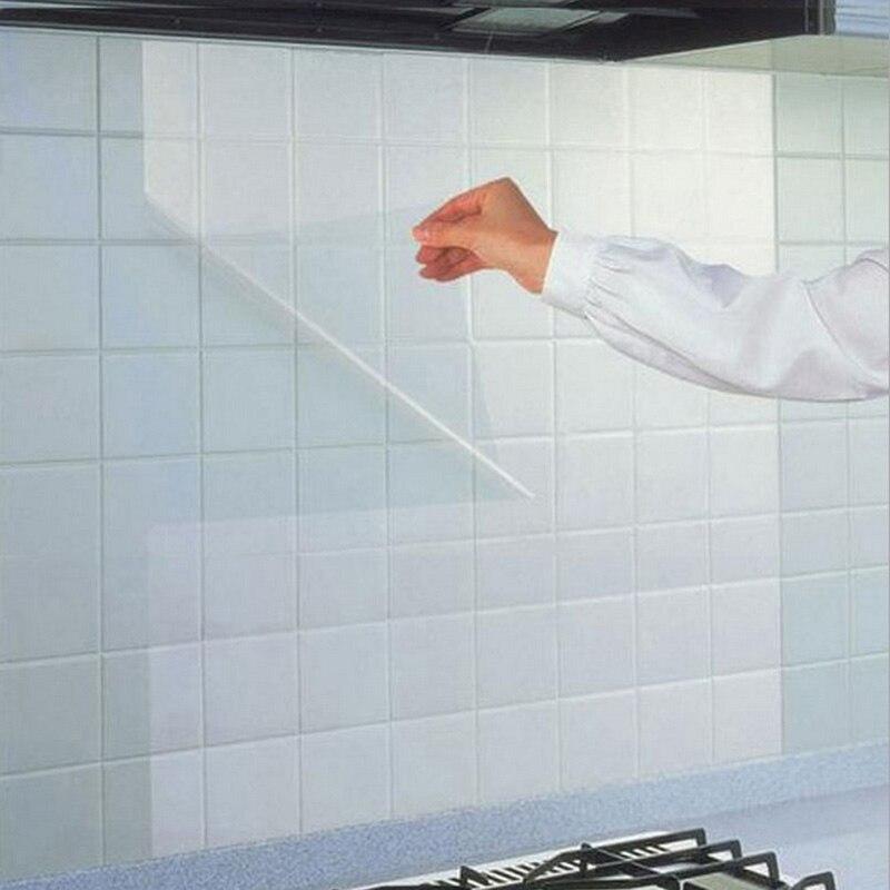 45*68 cm Étanche Oilproof Haute Température Foyer Cuisine Tuiles Auto-adhésif Autocollant Accueil Transparent Décoration Stickers Muraux