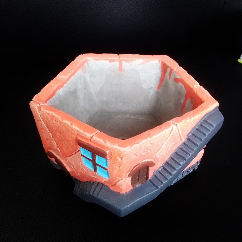 Big House Clay Mold for Concrete flower pot making Garden Decorating cement planter silicone molds