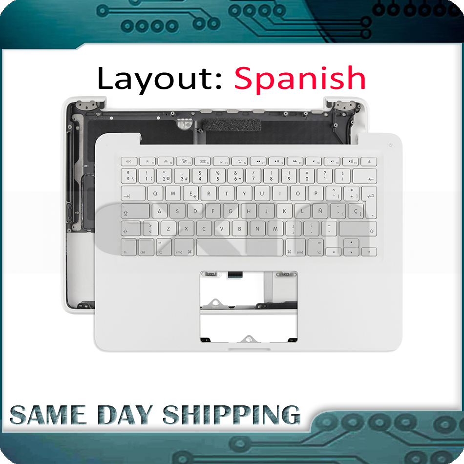 New for MacBook 13 White Unibody A1342 Spanish Spain Keyboard with Topcase Top Case MC207 MC516