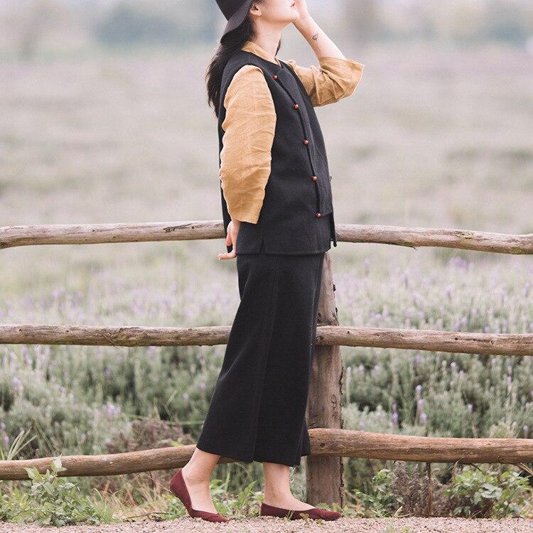 Mujeres Las 2019 Invierno Chino Negro Noveno Lana Estilo Pierna Color Sólido Engrosamiento Vestido Retro Pantalones D331 De Ancha gris q5xqCt4wnE