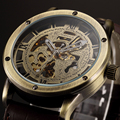 Antique Bronze Automatic self wind Watch Mens Luxury brand SHENHUA Skeleton Mechanical WristWatch Mens Gift Relogio Masculino