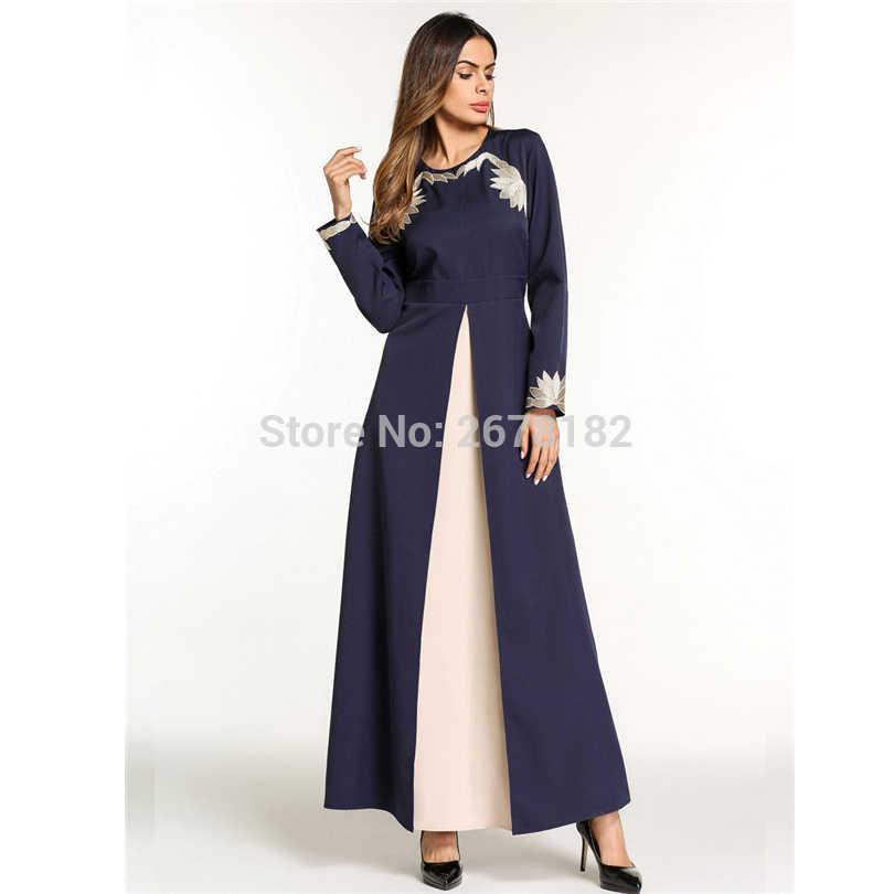 Dunkelblau Stickerei Blume Anarkali Kleider Kleider, Muslimischen Abendkleid Dubai Party Kleider Arabischen Türkische Muslime Hui Minderheit