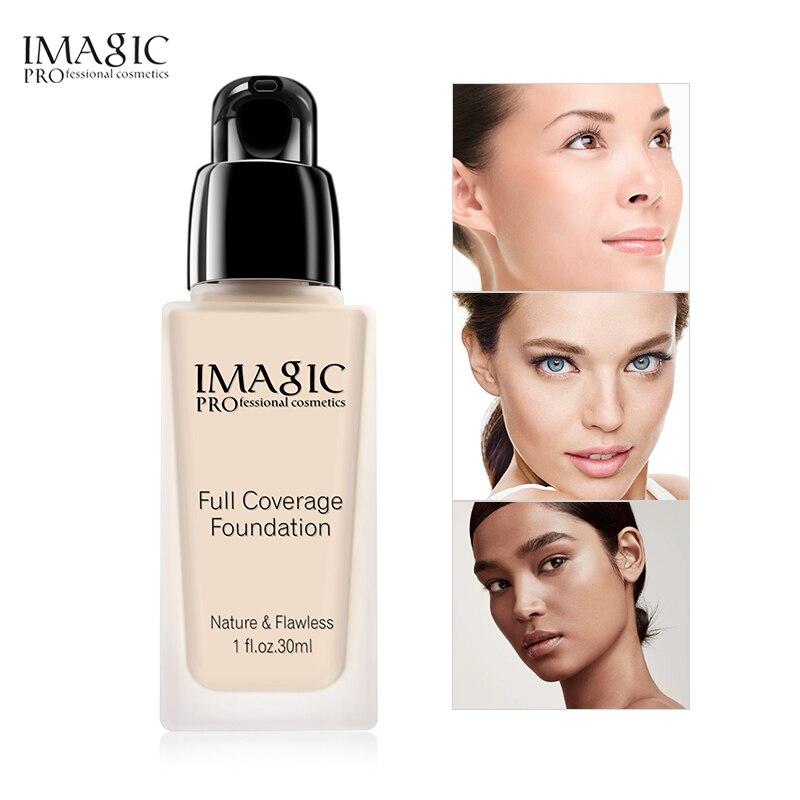 IMAGIC Face Base Líquida Fundação Creme Full Coverage Concealer Oil-controle Da Bomba Fácil de usar Macio Cobrir o Rosto de Maquiagem fundação