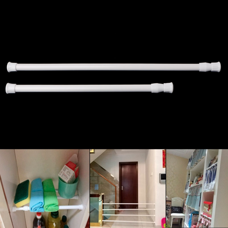 Spring Loaded Extendable Telescopic Poles Net Voile Tension Curtain Rail Rods ...