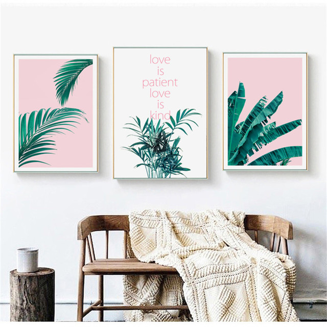 Home Decor Nordic Canvas Painting Pink Green Leaves Plant Letter Picture Living Room Bedroom Hotel Backdrop Wall Art Props Diy
