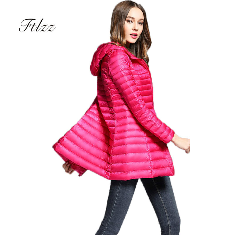 Winter Ultra Light   Down     Coat   New 2018 Women Slim Hooded Long Sleeve Zipper Warm Parka Medium Long Casaco Plus Size   Down   Jacket