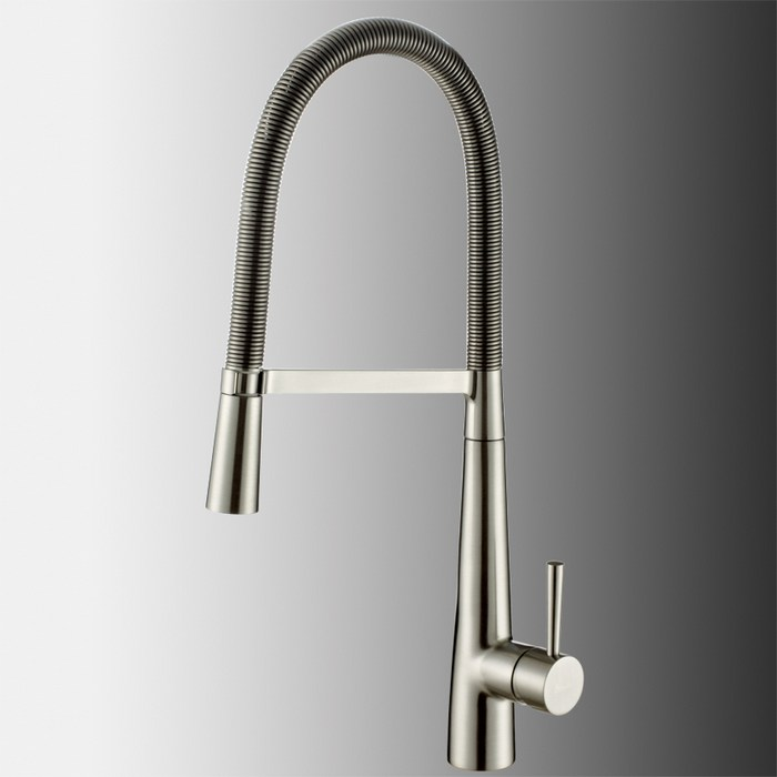 Solid Brass pull out kitchen faucet 360 rotating chrome or Brushed Nickel silver swivel Spout Vessel