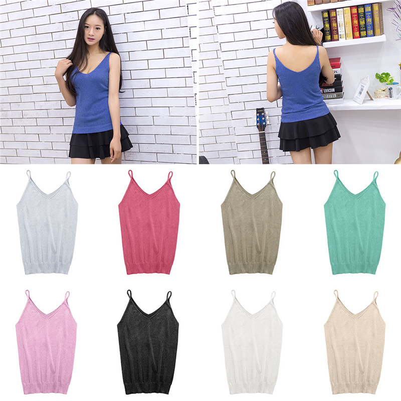 2017 Glittering Knitted Women Camisole Vest Stretchable V Neck Slim Sexy Strappy   Tank     Tops