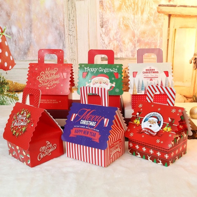 6 Style Christmas House Design 12pcs Candy Paper Box With Handle Cookie  Gifts Container Food Packaging