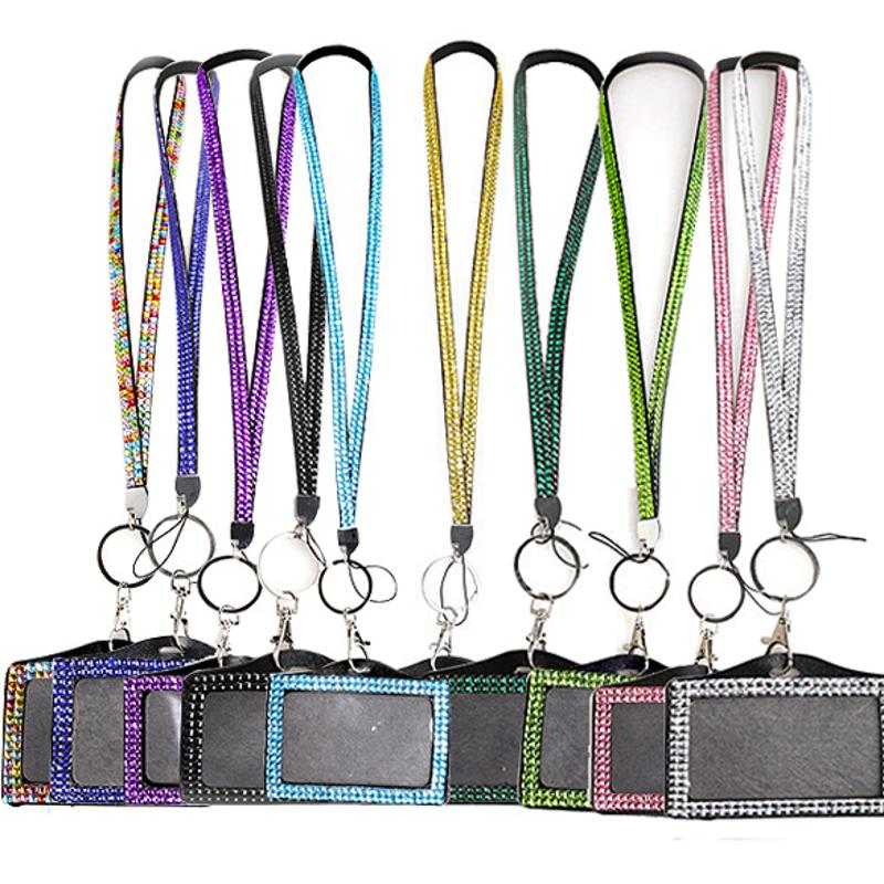 Horizontal Resin Rhinestone Crystal Badge Business Card Holder ID Cards Case Lanyard Sling Rope Office School Papelaria Supplies
