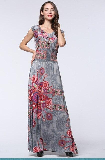 US $25.71 30% OFF|Summer Plus Size Bohemian Sleeveless Paisley Women Swing  Fit And Flare Dress Elastic Waist Ruffles Floor Length Fashion Dress-in ...