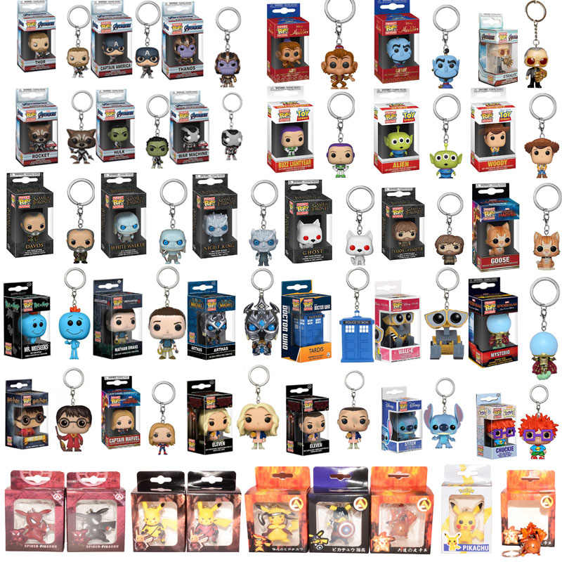 FUNKO POP Marvel Mysterio Stan Lee harri potter pokemones Pikachues Toy Story 4 Aladdin Portachiavi Action Figure Giocattoli Per I Bambini