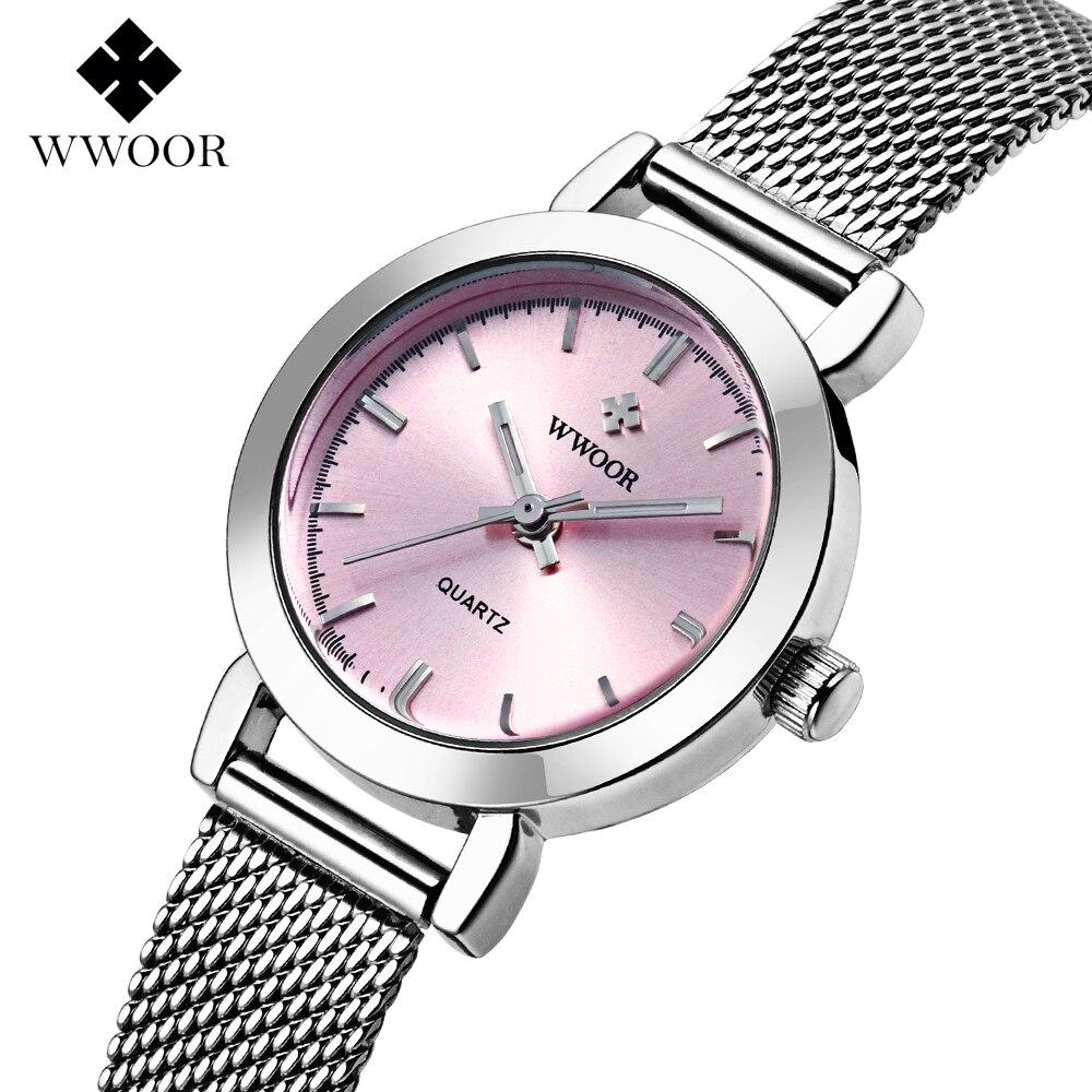 Prix pour Nouveau WWOOR Top marque montre femmes de luxe robe en acier plein montres Dames de mode casual quartz montre Femme table horloge Montre-Bracelet