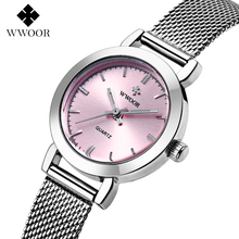 Новый WWOOR Верхней часовой бренд женщины роскошные платья полная сталь часы мода повседневная Дамы кварцевые часы Женские часы Наручные Часы