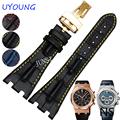 UYOUNG Watchband Quality Genuine Leather Mens Watch band +Folding buckle 28mm For Audemars Piguet Watch Strap