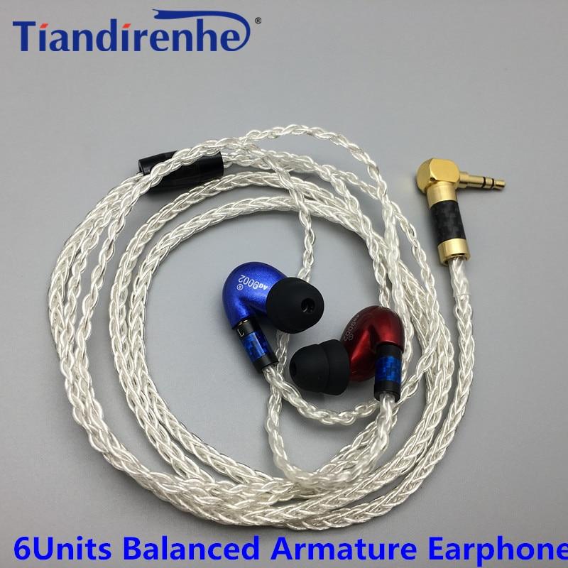 Tiandirenhe HIFI 6BA Balanced Armature Earphone DIY Red Blue Headset Made Around Ear Headset For shure MMCX se535 cable