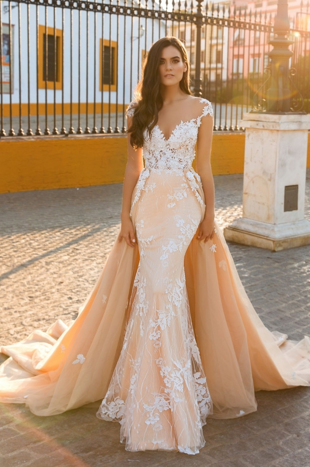 Sexy Mermaid Vestido De Noiva Cap Sleeves Illusion Back Lace Applique Bride Gown With Detachable Train mother of the bride dress in Mother of the Bride Dresses from Weddings Events