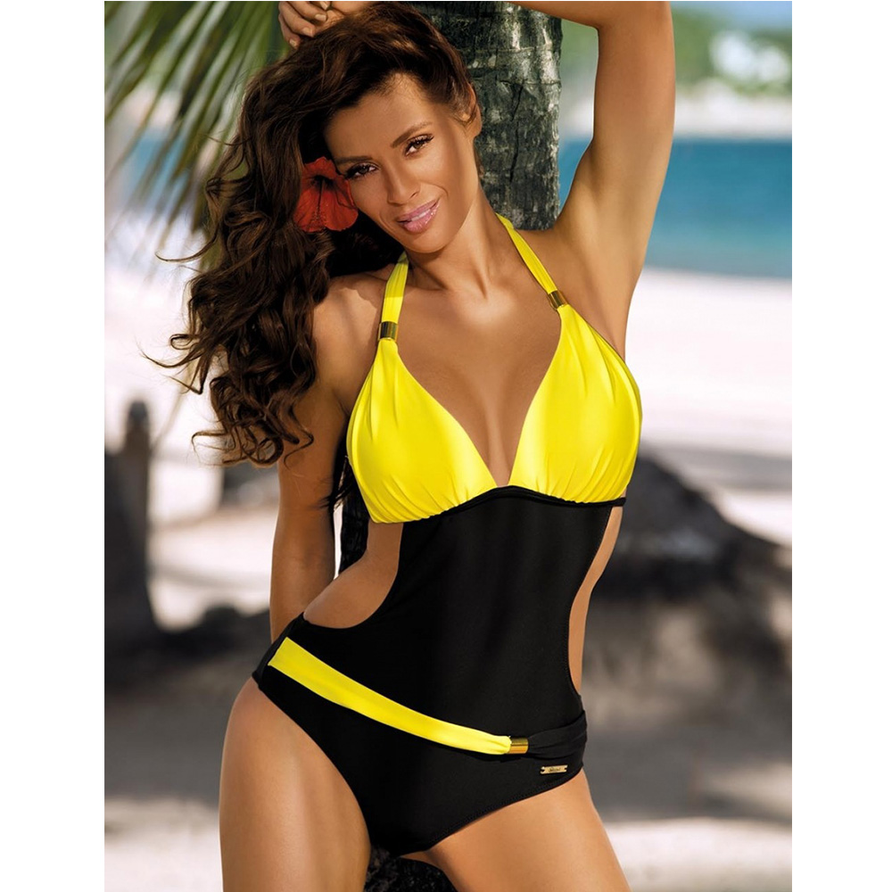 New Quick Dry One-piece Spell Color Equipped with Metal Decoration Sexy Swimsuit Female Beach Sportswear Bathing Suit Swimwear