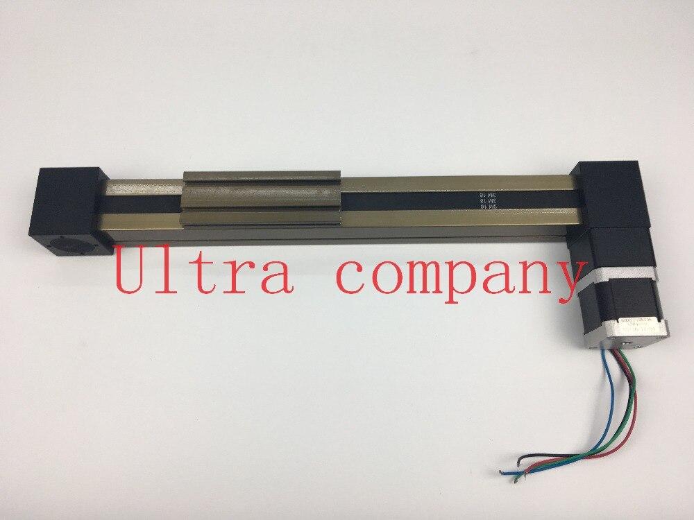 MF 3M Timing Belt Effective Stroke Lenght 300mm Linear Slide Module Guide Sliding Rail Systems +57 Nema 23 Stepper Motor CNC belt driven linear slide long travel