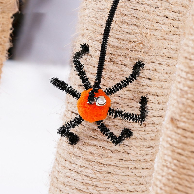 Cat Supplies Clever Halloween Cat Kitten Toys Hanging Plush Bat Spider Design Flying Finger Pet Teasing Cat Interactive Ball Bell Spring Rope Toys Latest Fashion