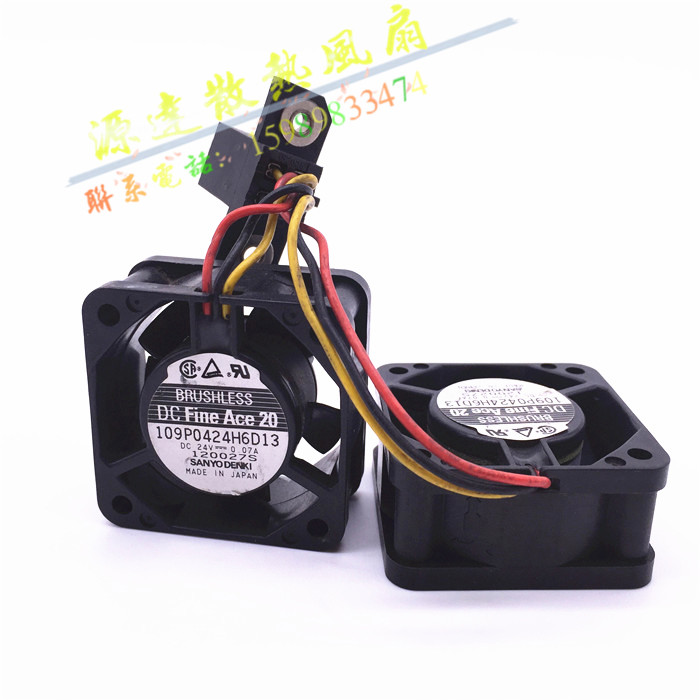 Sanyo Denki 109P0424H6D13 double fan Server Square Fan DC 24V 0.07A 40x40x20mm 3-wire smt motor sanyo denki l404 011e17 dc servo motor genuine new
