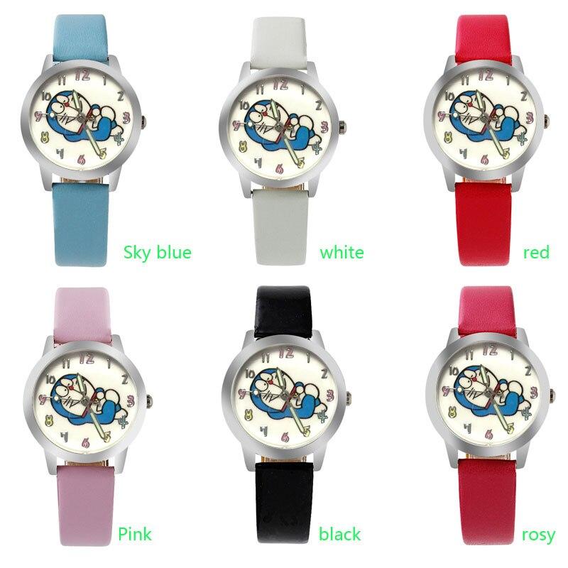 ot03 2017 Doraemon cat Cartoon Watches Kid Girls leather Straps Wristwatch children Quartz watch montre enfant montre femme