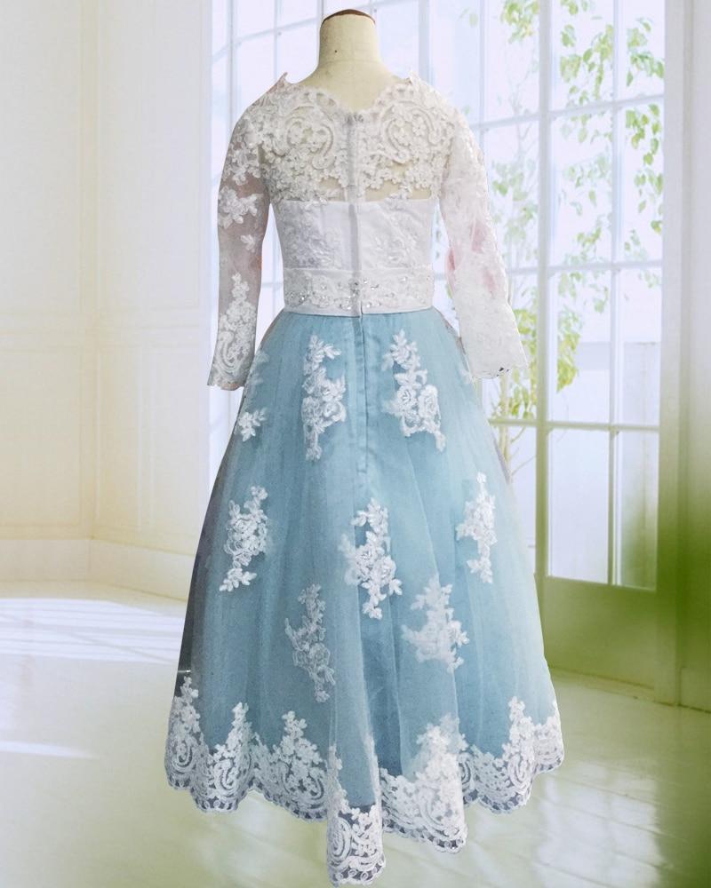 Hot Pink Floor Längd Flower Girl Dresses Lång Ärmar 2017 Appliques - Bröllopsfestklänningar - Foto 5