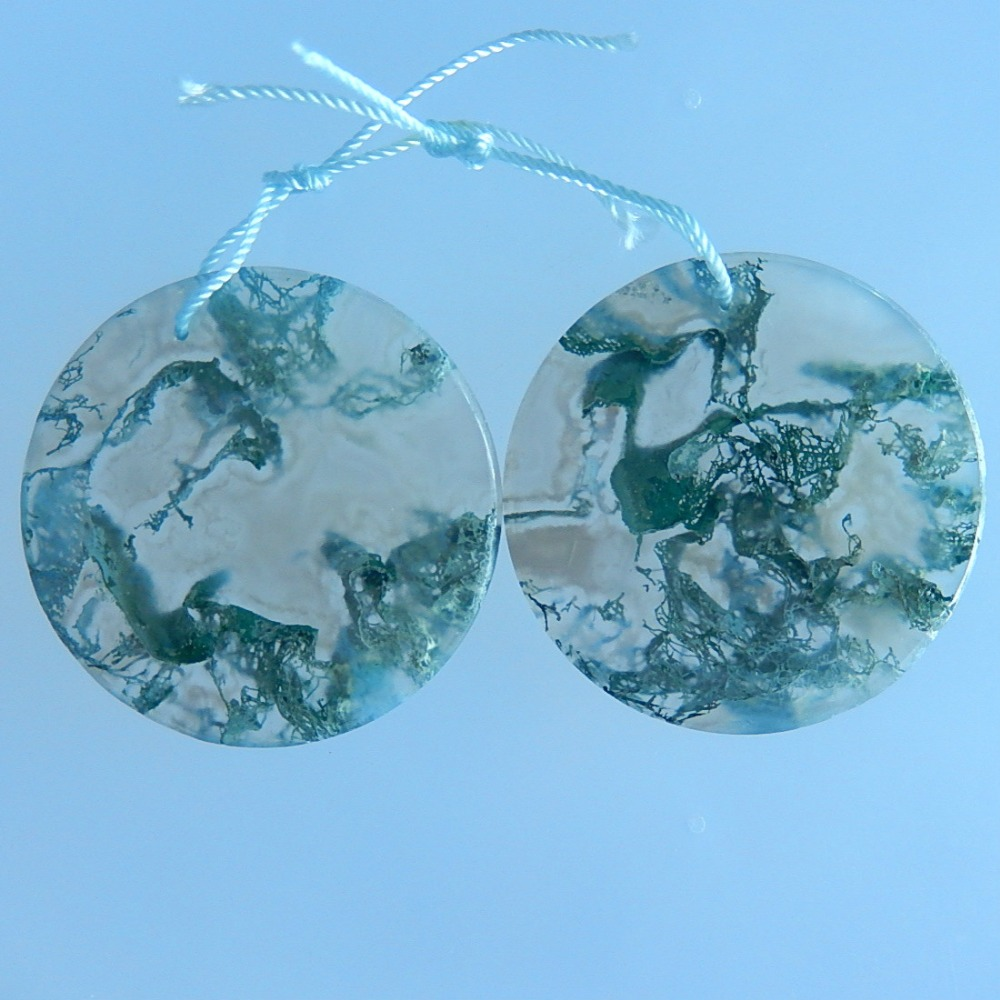 Natural Moss Agate Round Plane Earrings,34x3mm,17.2g