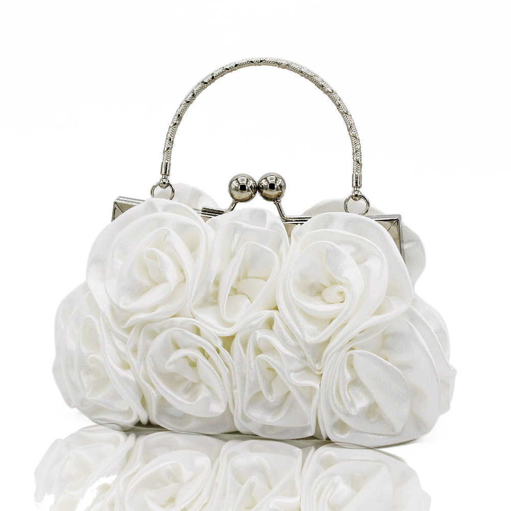 dbbbb14eba1b Elegant Women Satin Rose Floral Rhinestone Handbag Small Evening Bags  Women s Party Clutch Flower Female Wedding Handbags White