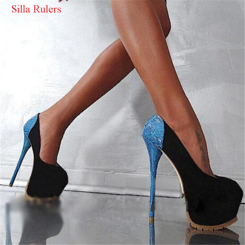 Hot 16cm High Heels Black Suede Snake Women Shoes Sexy Platform Women Pumps Ladies Nightclub Wedding Shoes Woman Zapatos Mujer