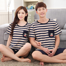 Fashion Short-sleeved Couple Pajamas Sets Striped Tops Solid Pants For Women Or Men Sleepwear Carton Leisure Home Cloth