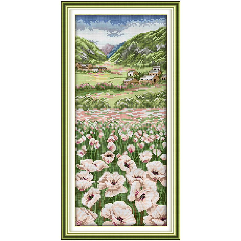 Poppy fields(2) Patterns Counted Cross Stitch 11 14CT Cross Stitch Set Wholesale Scenery Cross-stitch Kit Embroidery Needlework