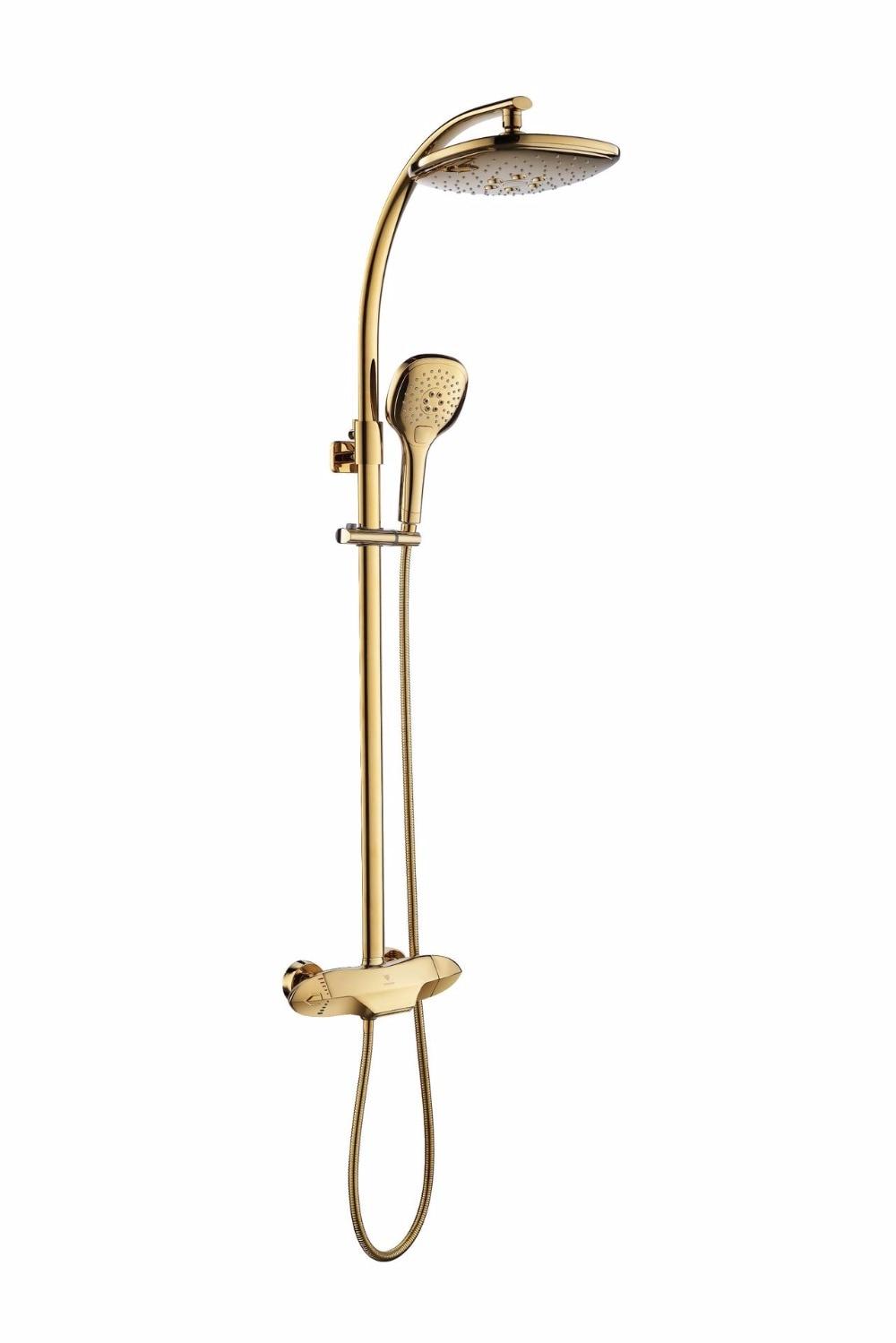 Dofaso real villa high-end de luxo banho de chuva chuveiro torneira Termostática torneira Do Banheiro Ouro Torneira Do Chuveiro Rainfall Set Torneira Misturadora