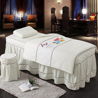 Fashion Solid Color Bed Skirt 70*190cm Massage Face Beauty Duvet Cover Pillowcase 4pcs Salon Bedding Set 20 colors #604