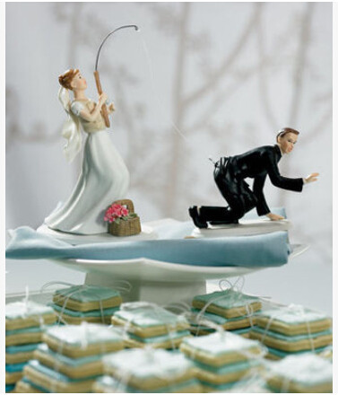 Fishing With Love Wedding Cake Topper Bride Groom For Cake Decoration Free Shipping