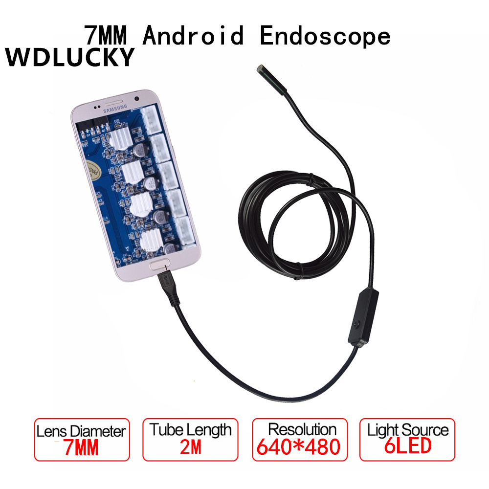 7mm Android OTG USB Endoscope Camera 2M  USB Android Phone Borescope Camera Endoscope headset bullet usb otg compatible android smartphones digital camera