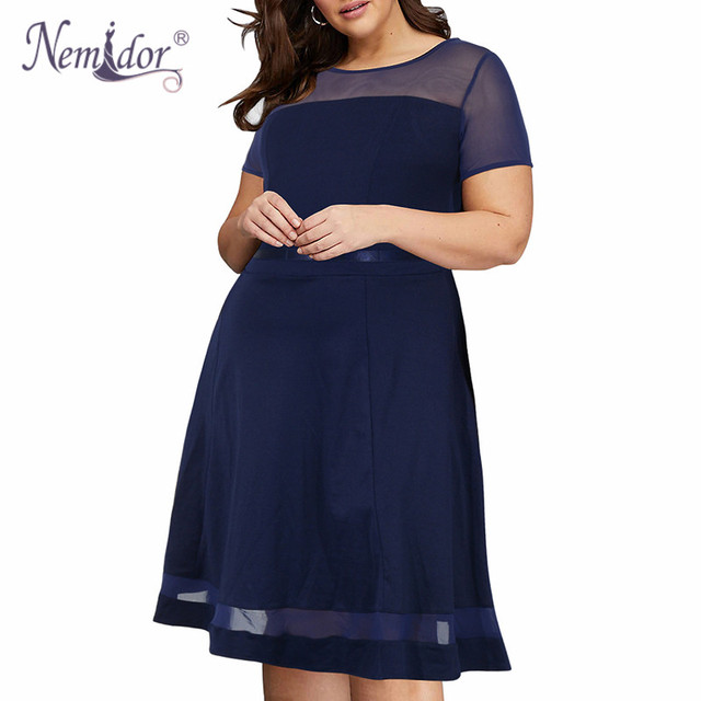 Nemidor 2018 Women Elegant Mesh Patchwork Party A-line Dress Vintage O-neck Plus Size 8XL 9XL Knee Length Cocktail Swing Dress 1