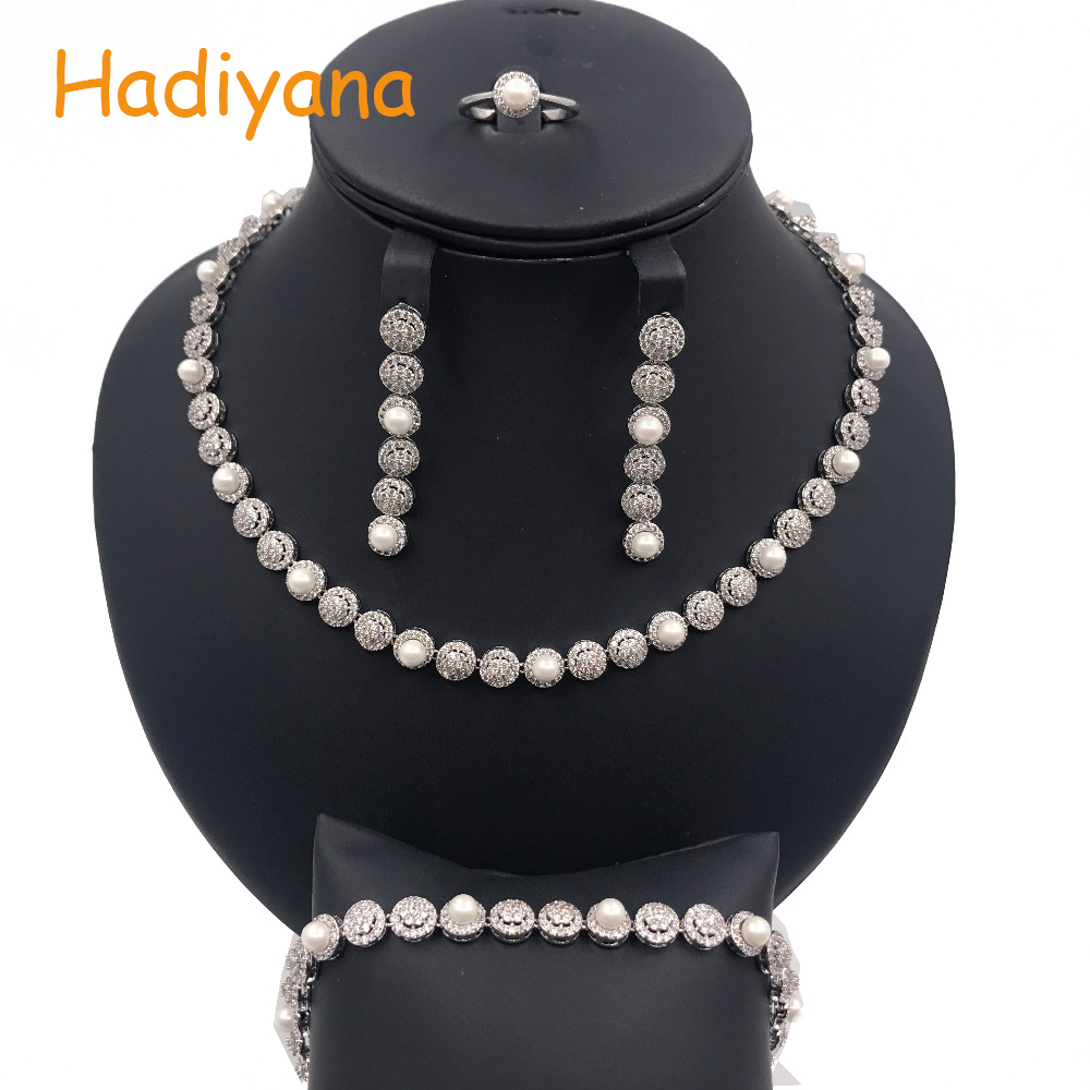 Hadiyana Sparkling Cubic Zircon Crystal 4pcs Wedding Jewelry Set For Women, Luxury Dubai Rhinstone Jewelry Set With Pearl CN079 цены онлайн