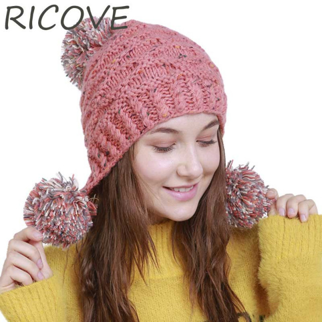0e09a012e38858 Winter Beanie Three Pompoms Knit Earflap Hat Women Warm Skullies Beanies Cap  Fashion Ladies Crochet Woolen