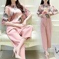 2 Duas Peças Set Mulheres Coreia Do Hot Rosa 2016 Nova Primavera Fêmea Chiffon verão Blusa Tops Calças Ternos Conjuntos de Roupas Casuais das Mulheres