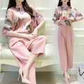 2 Two Piece Set Women Korea Hot Pink 2016 New Spring Summer Female Chiffon Blouse Tops Pants Casual Sets Clothes Women's Suits